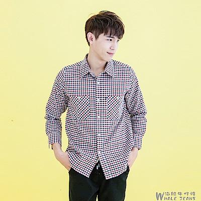 WHALE JEANS 男款簡風必備方格格紋長袖襯衫