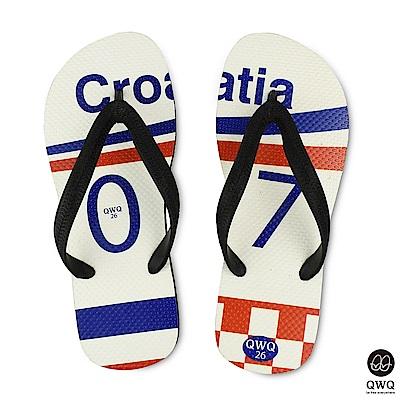 QWQ世界盃足球紀念鞋 克羅埃西亞 細帶女款款天然橡膠人字拖