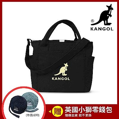 KANGOL 韓版玩色-帆布手提/斜背托特包-黑 KGC1216