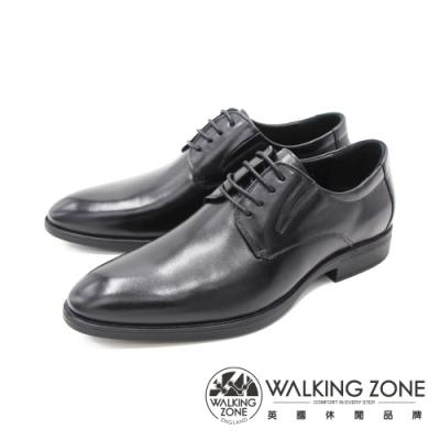 WALKING ZONE(男) 尖頭素面綁帶皮鞋 男鞋-黑(另有棕)