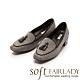 FAIR LADY Soft芯太軟 立體流蘇方頭樂福低跟鞋 灰條紋 product thumbnail 1