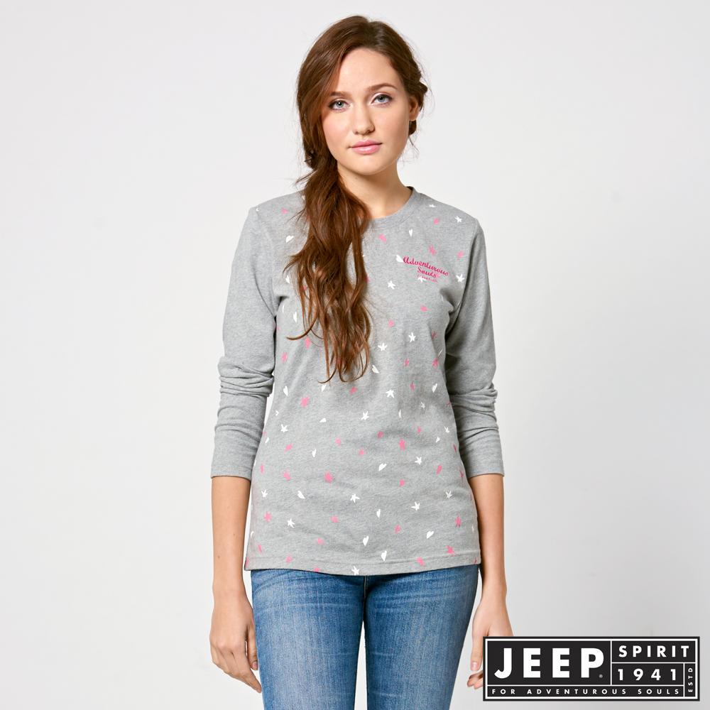 JEEP 女裝 輕甜滿版印花長袖TEE -灰色