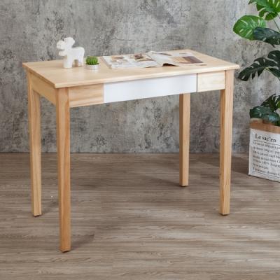 Bernice-森林家具 3尺全實木抽屜書桌/工作桌(白色)-DIY-90x50x76cm