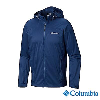 Columbia 哥倫比亞 男款-防潑水彈性風衣 深藍 UKE00710