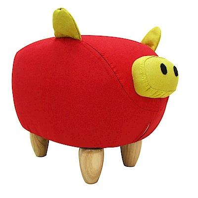 CLORIS 嘟嘟豬超萌動物造型椅/沙發矮凳/四腳椅(紅色)