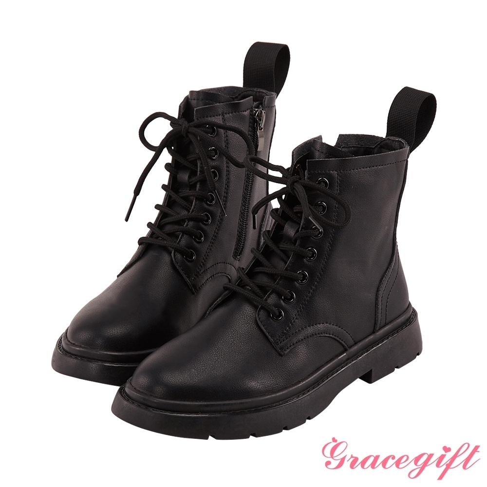 Grace gift-皮革綁帶馬汀馬丁短靴 黑