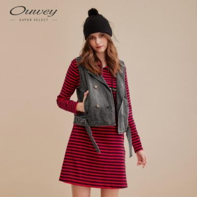 OUWEY歐薇 個性兩件式條紋牛仔連身洋裝(紅)