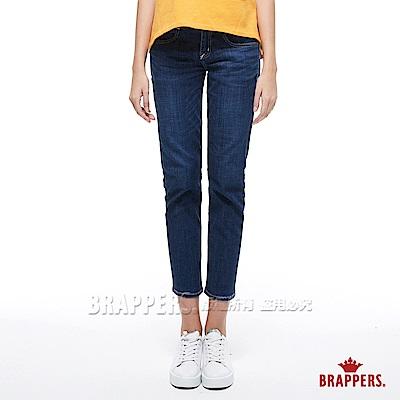 BRAPPERS 女款 BoyFriend系列-女用中低腰彈性天絲棉八分反折褲-藍