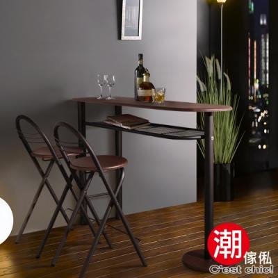C est Chic_Brunch&Wine工業風吧檯桌椅(一桌二椅)鐵刀木紋