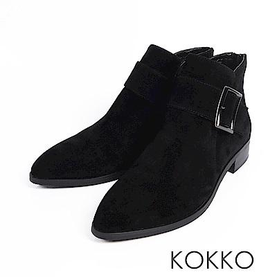KOKKO-冬日暖意羊麂皮貼腿顯瘦短靴-霧面黑