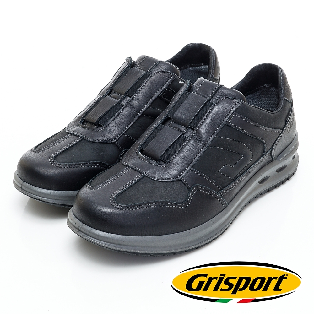 Grisport 義大利進口-拼接直套式厚底休閒鞋-黑色