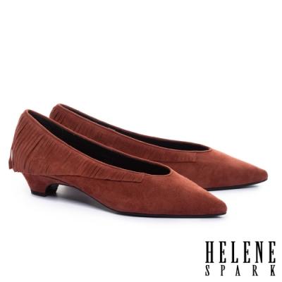 低跟鞋 HELENE SPARK 輕奢時髦流蘇全真皮尖頭低跟鞋-棕紅