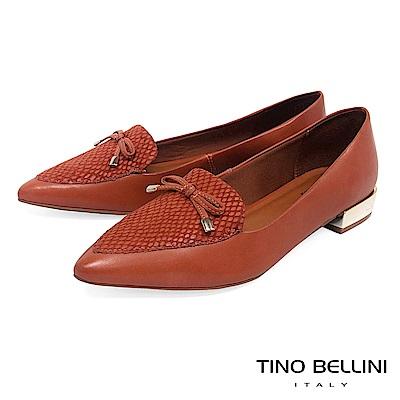 Tino Bellini 巴西進口拼接蛇紋小蝴蝶結低跟樂福鞋 _ 橘棕