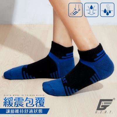 GIAT台灣製類繃萊卡運動機能襪(男女適穿/黑藍)