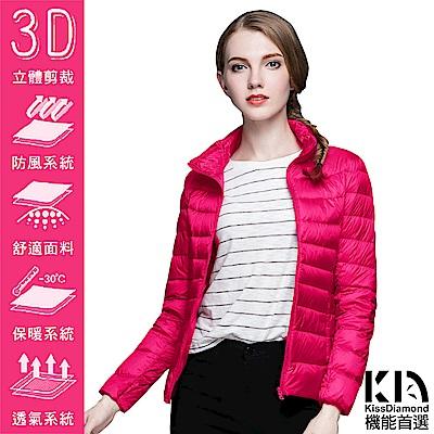 【KISSDIAMOND】SGS認證輕量立領90+羽絨外套女款玫紅