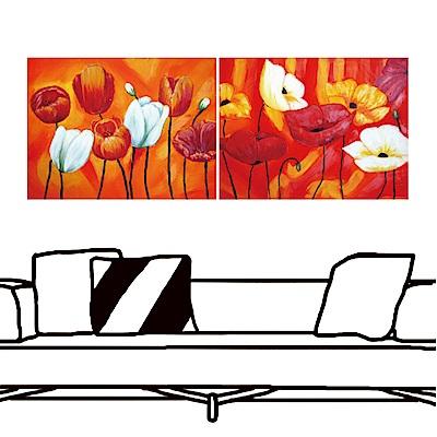 橙品油畫布 二聯 時尚無框畫掛畫- 艷紅花語 30x40cm