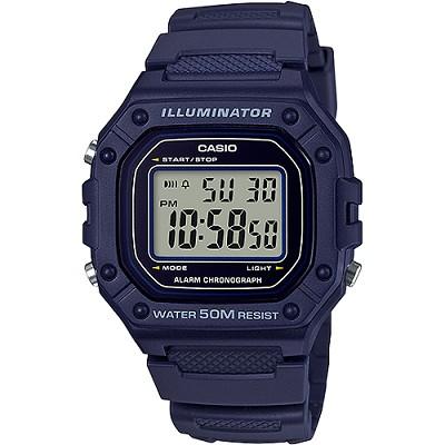 CASIO 復古帥氣方形數位電子錶-藍(W-218H-2A)/26mm