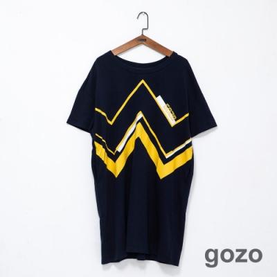 gozo 幾何配色曲線印花洋裝(二色)