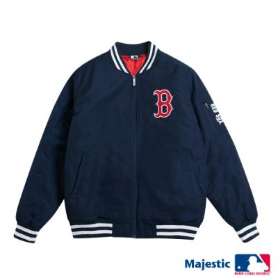 MLB-紅襪隊俐落簡約風棒球外套-深藍 (男)