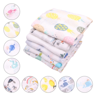 colorland【2入】紗布包巾竹纖維浴巾 卡通印花嬰兒蓋毯空調被推車毯