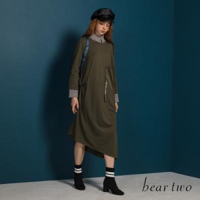 bear two-who u want織帶造型口袋圓領洋裝-綠