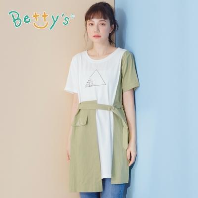 betty's貝蒂思 圓領繡花素面拼接洋裝(綠色)