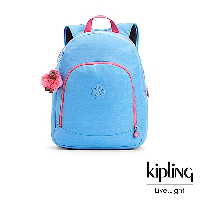 Kipling 後背包 馬卡龍藍撞色素面-大
