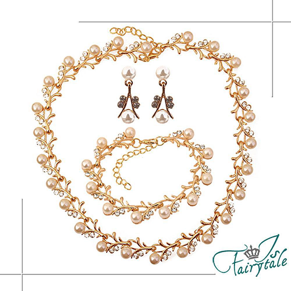 iSFairytale伊飾童話 金繽珍珠 華麗水鑽項鍊耳環手鍊三件套組