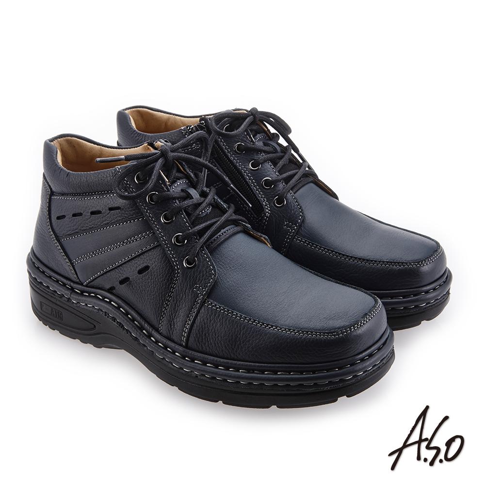 A.S.O 抗震雙核心 高舒適雙皮質休閒鞋 深藍