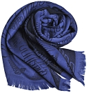 EMPORIO ARMANI 義大利製字母大老鷹LOGO圖騰羊毛圍巾(藍色/黑)