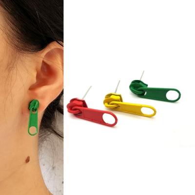 HERA 赫拉 創意時尚風格拉鍊頭烤漆耳環-3色
