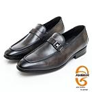 AMBER紳士品味漸層皮革金屬扣環直套式紳士皮鞋-灰色