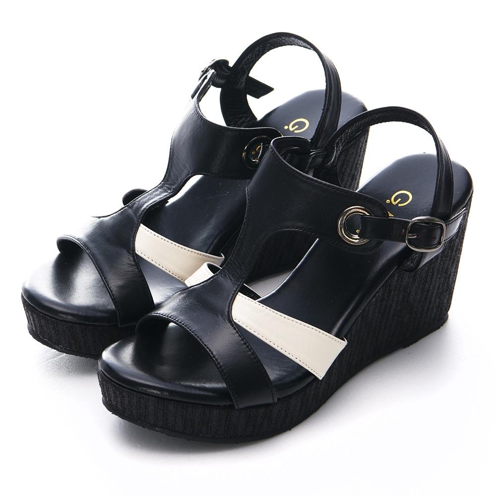 G.Ms. MIT系列-小香配色-米字造型T字款厚底楔型涼鞋-黑白色
