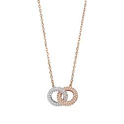 SWAROVSKI 施華洛世奇 Stone水晶環環相扣玫瑰金項鍊
