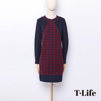 T.Life 休閒英倫風千鳥格紋拼接洋裝(2色)