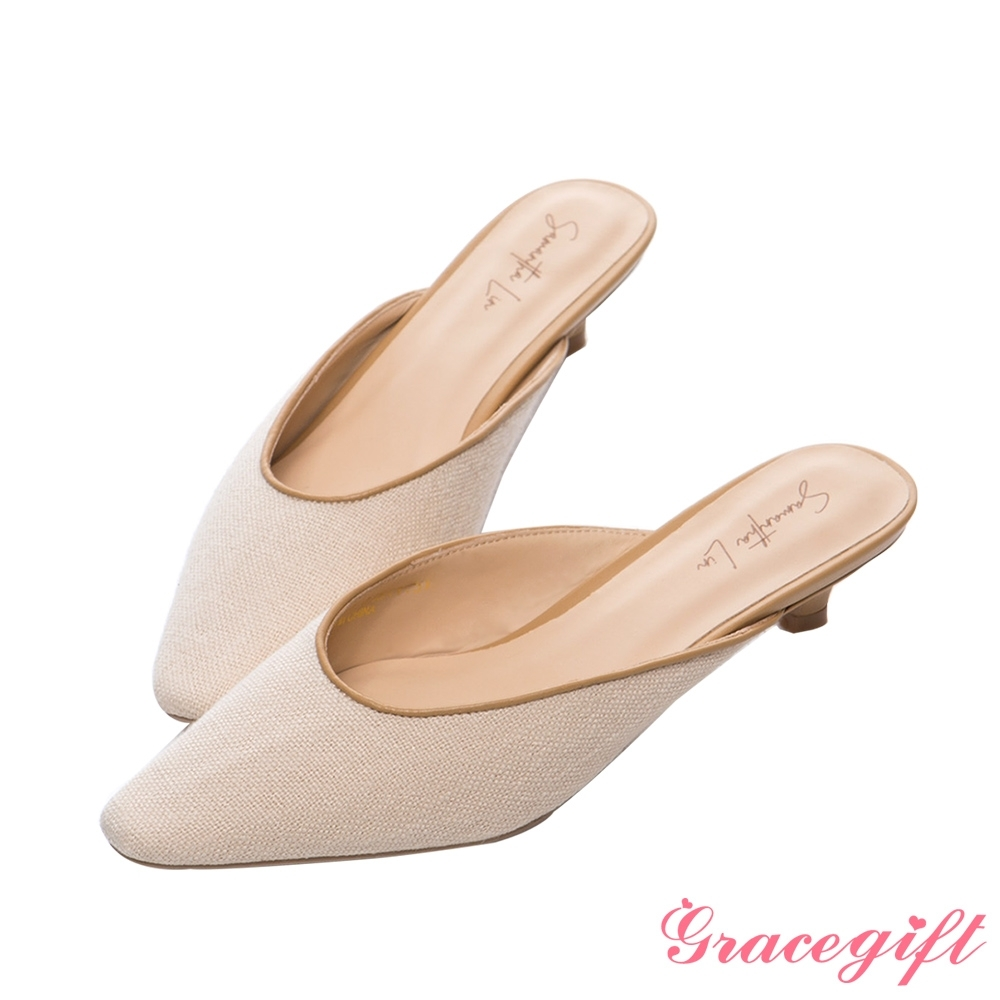 Grace gift X Samantha-聯名低跟穆勒鞋 米白