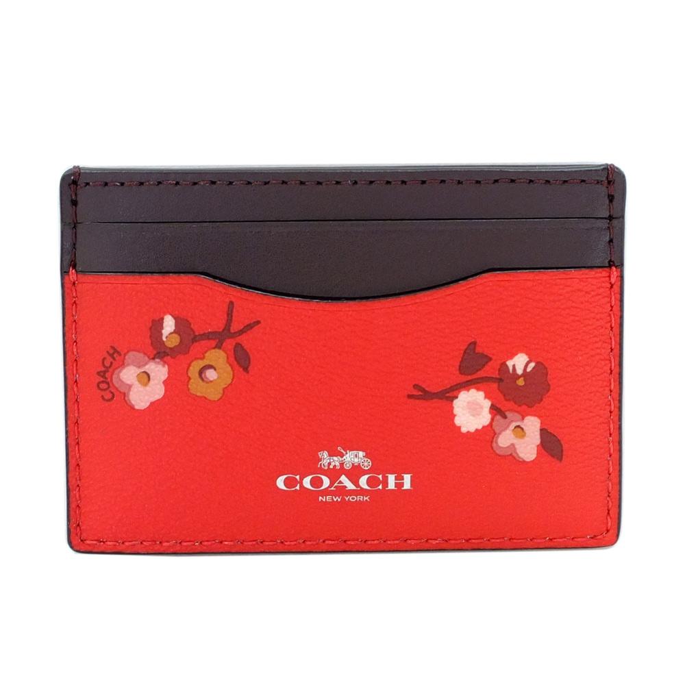 COACH果紅花紋拼接深可可真皮雙面名片/票卡夾COACH