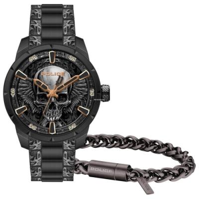 POLICE 骷髏頭街頭風手錶手環套組-鐵灰/45mm