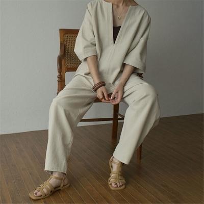 【KISSDIAMOND】日系休閒百搭大V領素雅套裝(KDA-1456)