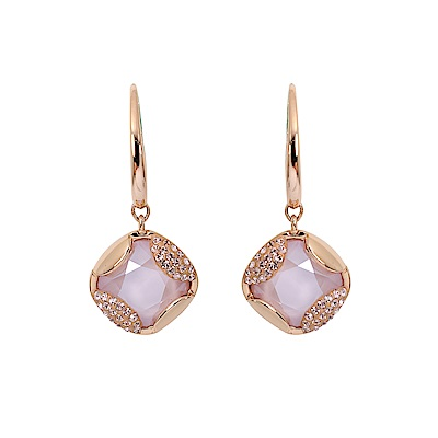 SWAROVSKI 施華洛世奇 璀璨粉色水晶菱形造型玫瑰金垂墜耳環