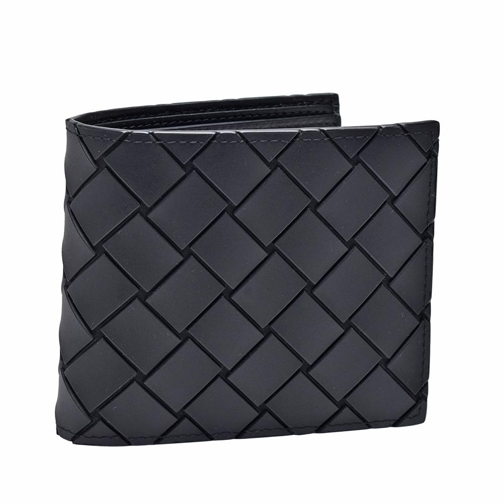 BOTTEGA VENETA 經典大格編織折疊短夾(黑色)