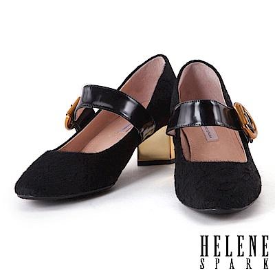 高跟鞋 HELENE SPARK 經典復古真皮瑪麗珍粗跟高跟鞋-黑