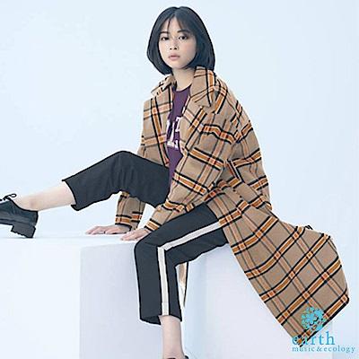 earth music 廣瀨鈴企劃款-經典復古格紋切斯特大衣外套