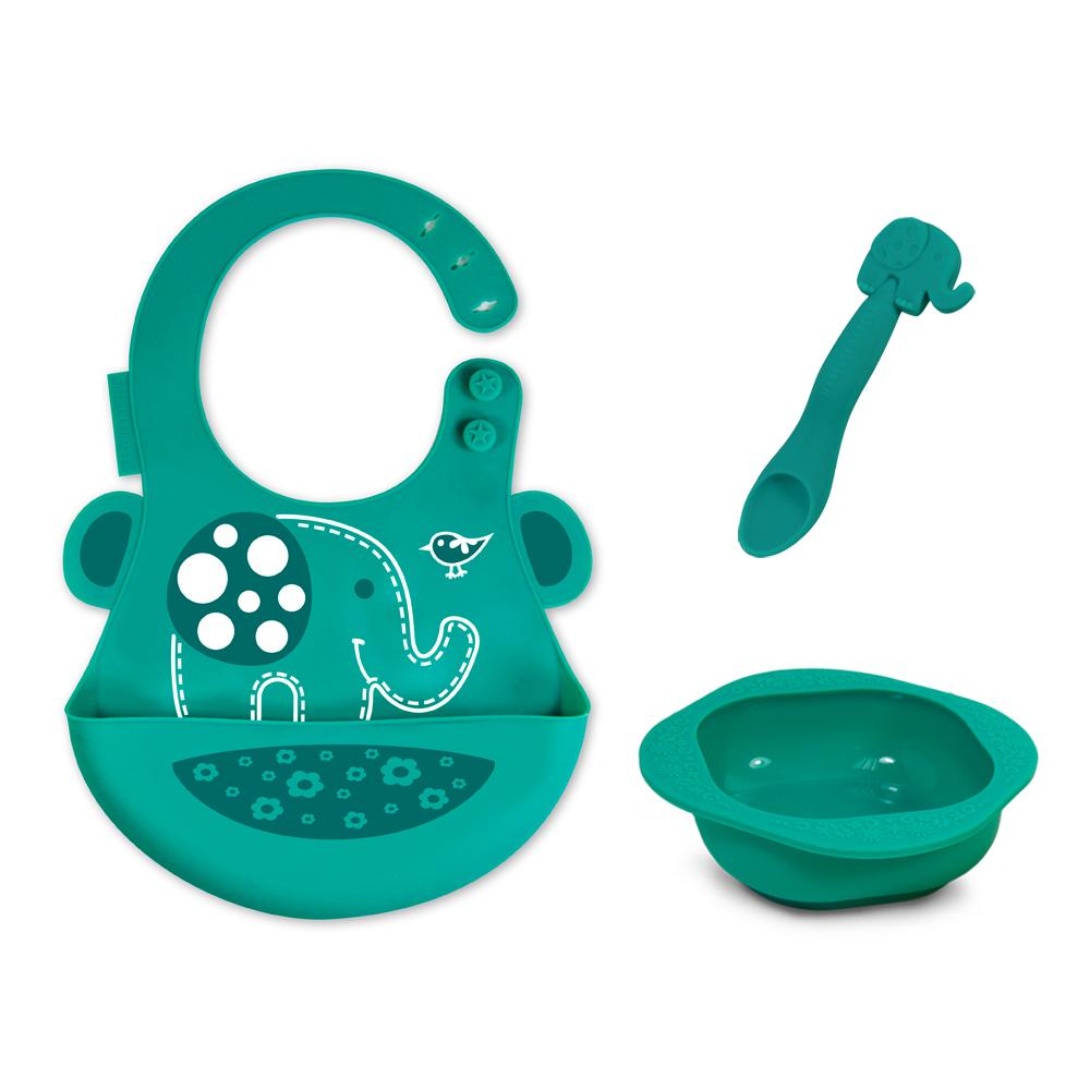 【MARCUS&MARCUS】動物樂園餵食禮盒組-大象(綠)