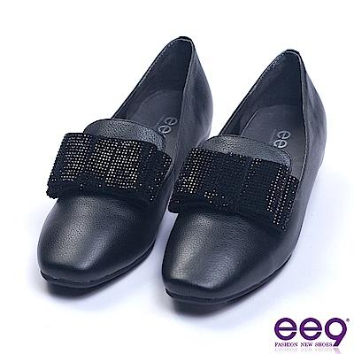ee9 都會優雅鑲嵌亮鑽蝴蝶結內增高休閒便鞋 黑色