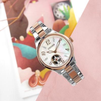 CITIZEN 機械錶 施華洛世奇晶鑽 不鏽鋼手錶-銀白x鍍玫瑰金/34mm