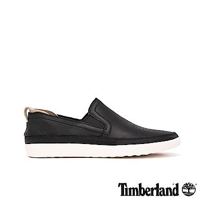 Timberland 男款黑色全粒面革舒適透氣休閒鞋|A24D7