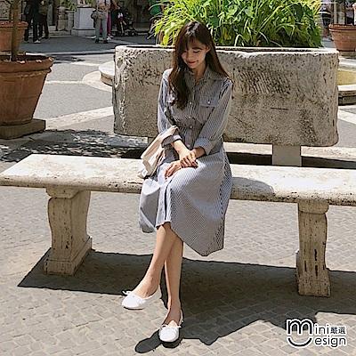 條紋襯衫鬆緊腰連身洋裝-mini嚴選