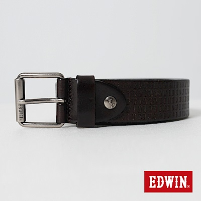 EDWIN LOGO滿版烙印皮帶- 深咖啡