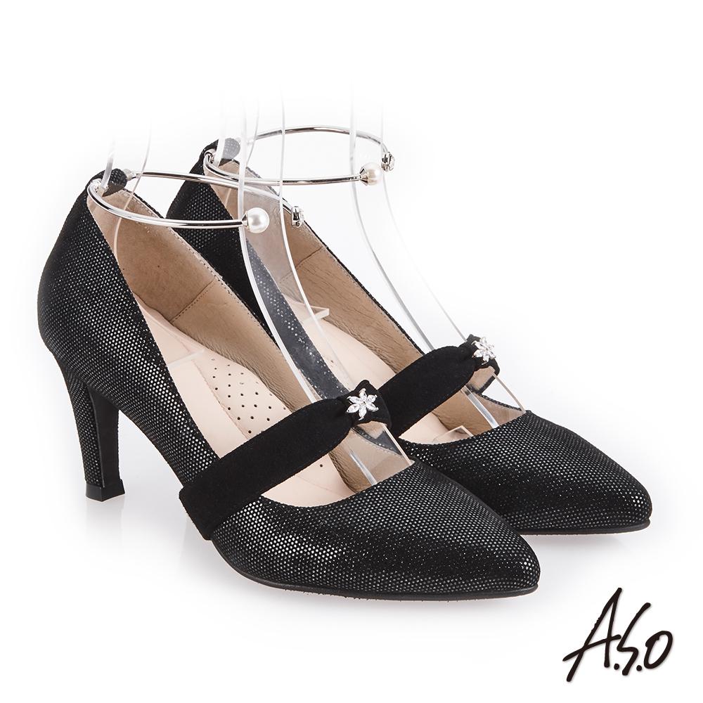 A.S.O 百變女伶 可拆帶式尖頭高跟鞋 黑